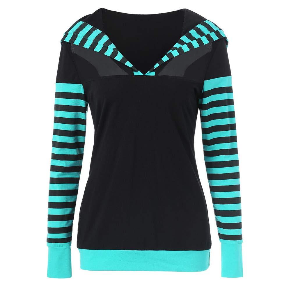 Women Long Sleeve Striped Patchwork Hooded Casual Hoodies Tops Womens Sweatshirt