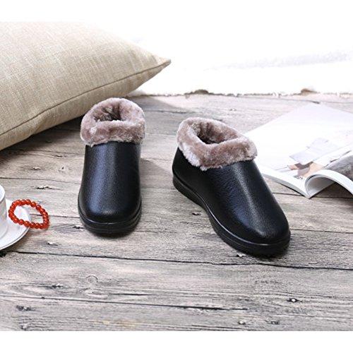 BERTERI Black Shoe Cotton PU Inside Outdoor Backpacking Hiking Senior Winter Citizen Women's Boot rxw07rqZPf