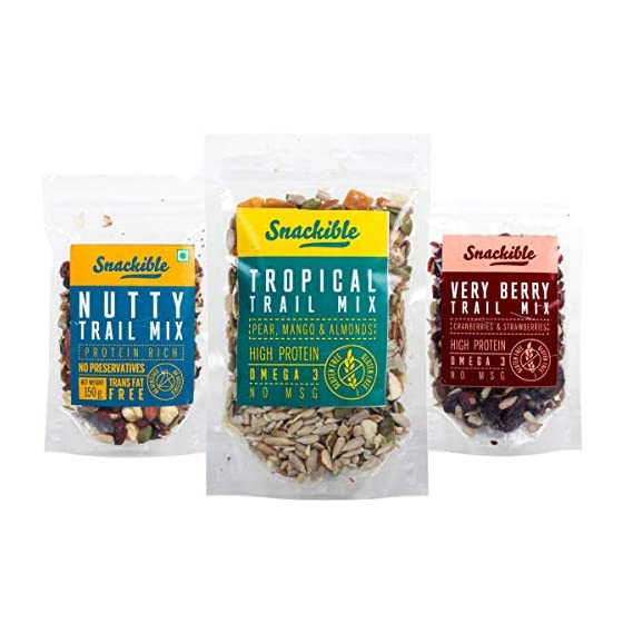 Snackible Trail Mixes Combo Of Nutty Trail Mix, Tropical Trail Mix And Very Berry Trail Mix, 150G Each