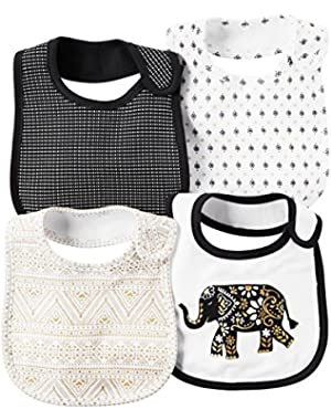 Baby Girls' 4-Pack Geo Printed Bibs