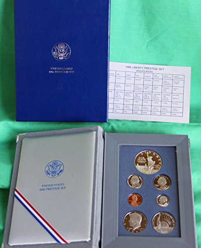 1986 S Prestige Proof Set 7-Coins in Original US Mint Packaging with COA Proof
