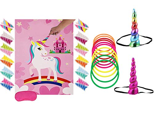Unicorn party game set unicorn ring throwing game & unicorn nail. children's birthday party ring throwing game with unicorn party supplies, perfect for party events and birthday gifts. ()