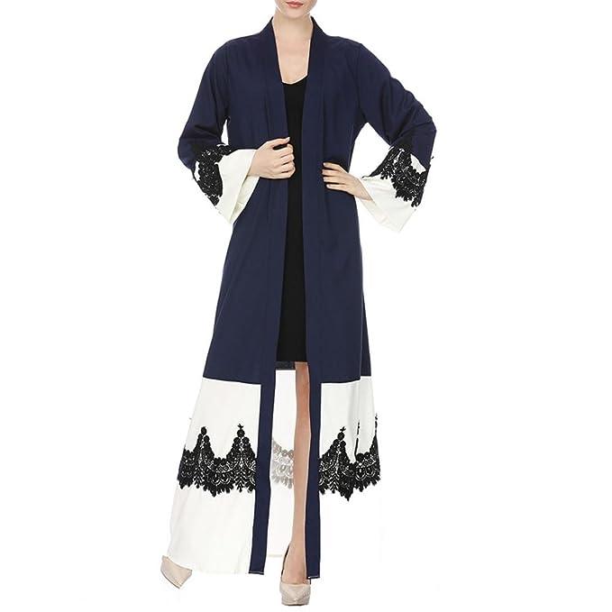 b7eec9ae928105 WILLTOO Womens Kimono Jilbab Muslim Open Front Lace Casual Cardigan Islamic  Kaftan Robe Daily Blouse Navy