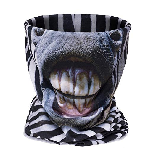 Beautihome Outdoor Face Mask 3D Print Image Zebra Face Halloween Scarf Festival Skull Masks Horror Scary Head Tease Masquerade -