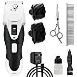Pet HairClipper Grooming Professional Electric Queit Electric Shaver Rechargeable Cordless Clippers Hair Scissors Trimmer Set with Stainless Steel, 2 Comb Clippers Guide Set for Small/Large Dogs Cats