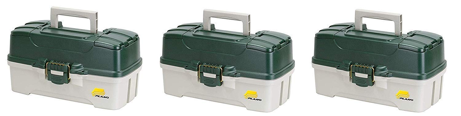 Plano 3-Tray Tackle Box with Dual Top Access, Dark Green Metallic/Off White, Premium Tackle Storage (Pack of 3) by Plano