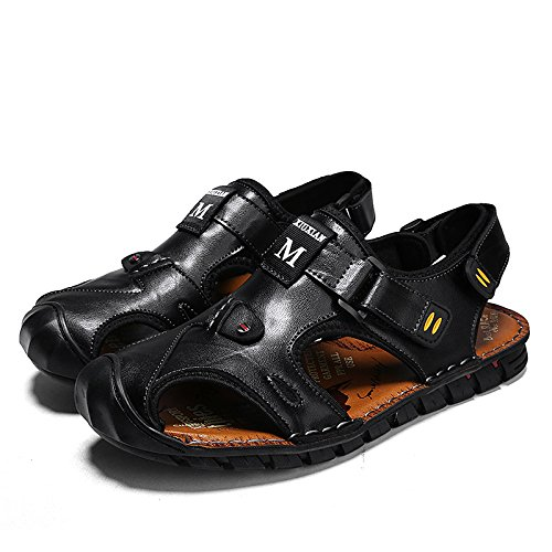 Black Sandals Trekking Leather Sports Shoes Casual Outdoor Toe Sandals Shoes Closed Summer Mens Brown Beach 6zp86
