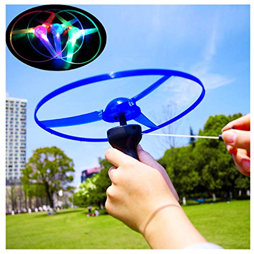 Wenini Flying Disc Toy - Funny Colorful Pull String UFO LED Light Up Flying Saucer Disc Kids Toy Battery Include (Random) ()