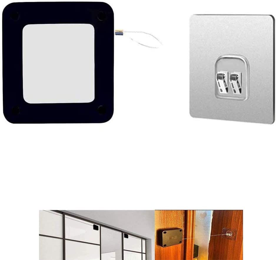 Cierrapuertas con sensor automático sin perforaciones, limitador de puerta telescópico antipinzamiento silencioso con cordón, para puerta corredera de interior (2Pcs Negro)