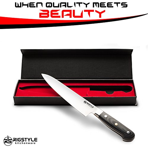 RIGSTYLE German Chef Knife 8 inch, High Carbon Stainless Steel, Sharp Blade with Ergonomic Handle for Professional Restaurants & Home Kitchens, Meat, Fish, Chicken & Vegetables Chopper, with Gift Box by RIGSTYLE (Image #7)'