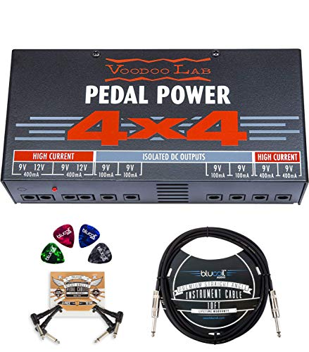 Voodoo Lab Pedal Power 4×4 Isolated Power Supply Bundle with AC Line Cord, Blucoil 10-FT Mono Instrument Cable, 2-Pack of Pedal Patch Cables, 4-Pack of Celluloid Guitar Picks, and 5X Cable Ties