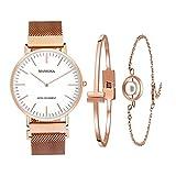 MAMONA Women's Rose Gold Quartz Watch Gift Set Waterproof Mesh Band Wristwatch Ultra