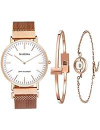 Women's Rose Gold Quartz Watch Gift Set Waterproof Mesh Band Wristwatch Ultra Thin L3881RGGT