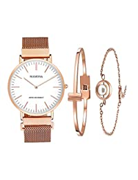MAMONA Women's Rose Gold Quartz Watch Gift Set Waterproof Mesh Band Wristwatch Ultra Thin L3881RGGT