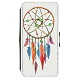 Image Of Watercolor of a Beaded Dreamcatcher on White Apple iPhone X Leather Flip Phone Case