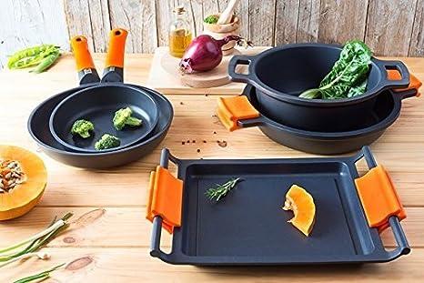 BRA Efficient Orange - Set de 3 sartenes, aluminio fundido con antiadherente tricapa libre de PFOA, para todo tipo de cocinas incluida inducción y ...