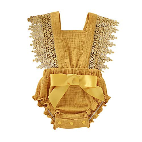 Haikaini -Newborn Summer Sleeveless Romper, Baby Ruffle Jumpsuit Outfits, Lace Bowknot Bodysuits Sunsuits (Yellow, 0M-3M)