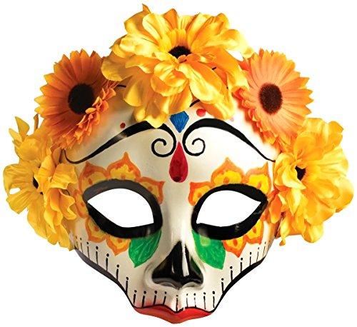 Forum Novelties Women's Day Of Dead Flower Skull Mask, Multi, One Size