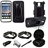 Mstechcorp – Alcatel OneTouch Pop Astro Case, Armor Series – Heavy Duty Dual Layer Holster Case Kick Stand with Locking Belt Swivel Clip For Alcatel OneTouch Pop Astro 5042T- Includes Wall Charger Data Cable + Car Charger Data Cable + Touch Screen Stylus + 2 Data Cables + Hands Free Earphone With Carrying Case (ARMOR BLACK) For Sale