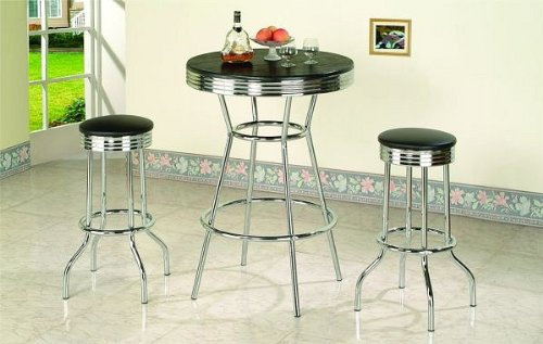 3pc Black Wood Bar Table & Commercial Restaurant Chrome Black Swivel Barstool Set 29