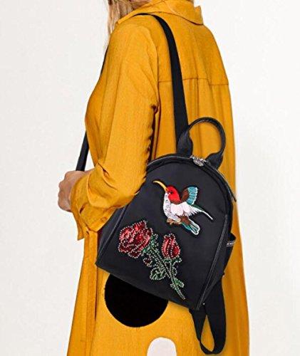 Multi à usages Sac à Vent Nylon Broderie Femmes En Dos Dos Sac National Papillon A3 f7w5Uq45