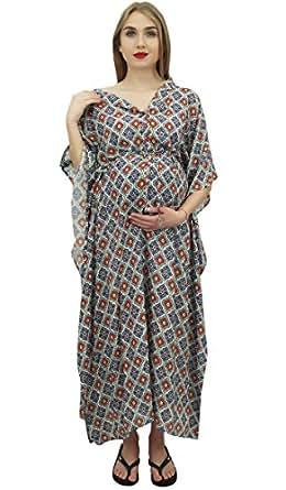 Bimba Vestido Maxi Multicolor con Cordon de la Mama Manga Kimono Maternidad Kaftan-54