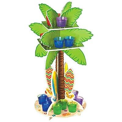 "Amscan Sun-Sational Summer Luau Party 3D Palm Tree Shot Glass Holder Serveware, Multi Color, 15.5 x 12"""