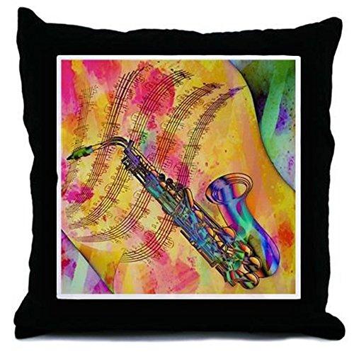 "CafePress - Colorful Saxaphone - Decor Throw Pillow (18""x18"")"