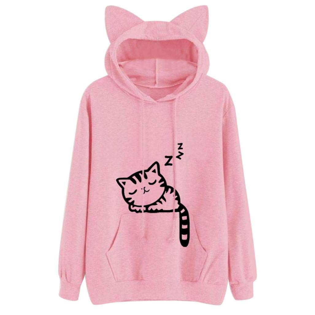 FEITONG Womens Cat Print Long Sleeve Hoodie Sweatshirt Pullover Tops Blouse(XL,Pink)