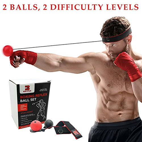 Reflex Boxing Ball by Box R' Flex: Punching Ball Headband For Reflex & Strength Training, Speed &Reaction Increase, Hand Eye Coordination Exercises, For Men & Women -With Hand Wraps & Carrying Bag by Box R' Flex
