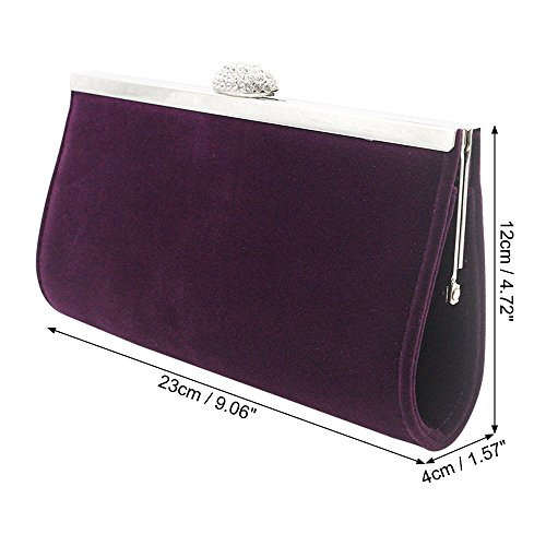 Wocharm Bag Purple Evening Purse HandBag Clutch Diamante Wedding Velvet Prom Party Box Crystal Women Satin Phone xxrvfnFA