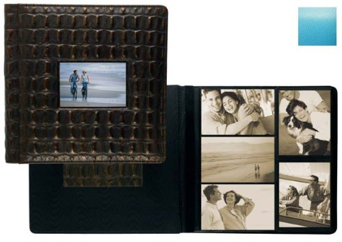 RODEO TURQUOISE pebble grain leather #113 window album with 5-at-a-time pages by Raika - 4x6