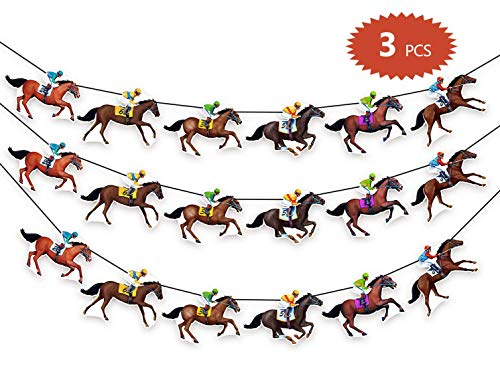 90shine Kentucky Derby Banners Party Supplies Horse Racing Streamers Decorations(3PCS) -
