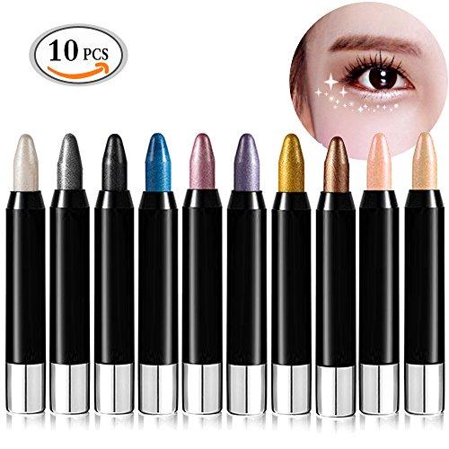 Travelmall 10pcs/pack Cream Eyeliner Eye shadow Pencil Lying Silkworm Big Smokey Eyes Shimmer Automatically Rotate Makeup Glitter Eye Liner Pen