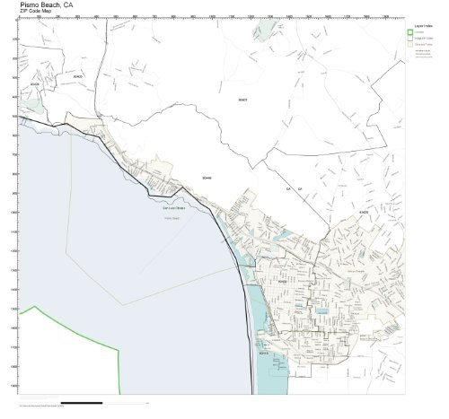 ZIP Code Wall Map of Pismo Beach, CA ZIP Code Map Not - Beach Beach Pismo Pismo