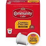 Community Coffee Coffee and Chicory, Medium-Dark Roast, 18 Count Single Serve Coffee Pods, Compatible with Keurig K-Cup Brewers