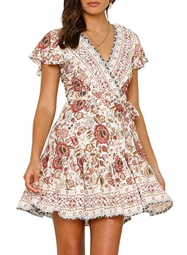 ZESICA Women's Summer Wrap V Neck Bohemian Floral Print Ruffle Swing A Line Beach Mini Dress White
