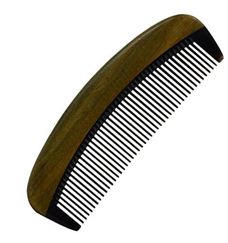 "4.7"" Premium Quality Natural Green Heart Wood Comb Ox Horn Hair Comb"
