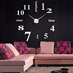 DIY 3D Wall Clock Frameless Modern Acrylic Mirror Metal Large Wall Stickers Clocks Wall Watches Room Home Decorations by SMYTShop (Silver)