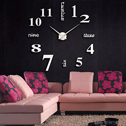 3D DIY Acrylic Mirror Wall Sticker Clock Home Decoration Gold - 1