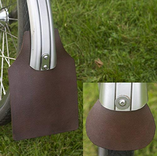 London Craftwork Mud Flap Set for Brompton Genuine Leather Brown Mudguard Flaps -
