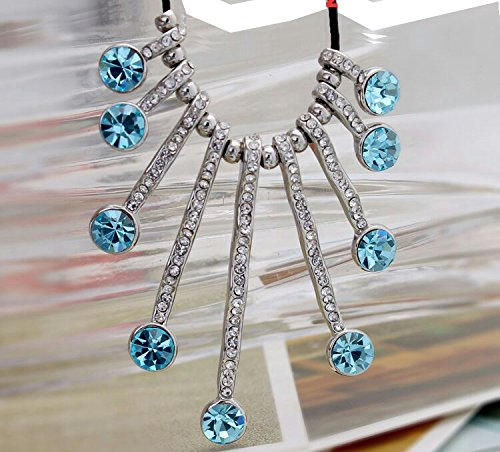 YouBella Presents Gracias Collection Crystal Jewellery Necklace for Girls and Women (Blue)