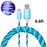 6FT Micro USB Cable Lights up 2.4A Fast Charging Data Cord for Android Smartphone Tablets Wall and Car Charger (Blue Light-Micro)