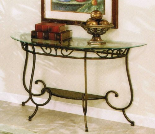 Poundex Sofa Table with Glass Top in Bronze Finish (Barn Pottery Table Sofa)