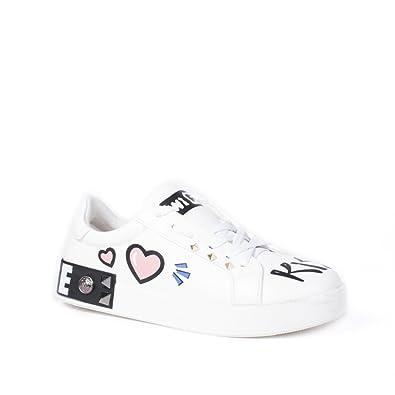 Ideal Shoes Baskets en Similicuir avec Dessins et