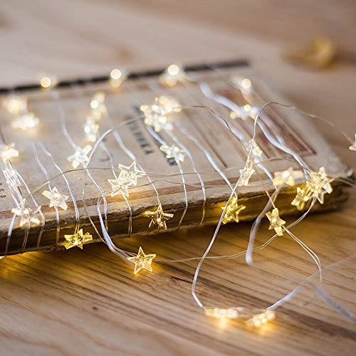 Tuscom Button Battery Pentagram Star Light Cozy String Fairy Lights for Xmas Window Bathroom Wedding Festival Holiday (3 Colors) (Yellow) by Tuscom@ (Image #1)