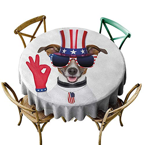 The Pattern Round Table Cloth 70 inch 4th of July,Jack Russell with an Uncle Sam Hat Gloves and Giant Sunglasses Celebrating,Multicolor Printed Indoor Outdoor Camping Picnic Circle Table Cloth
