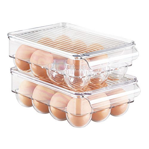 mDesign Refrigerator Storage Organizer for Kitchen, Stackable Egg Holder with Lid, Holds One Dozen Eggs - Pack of 2, Clear