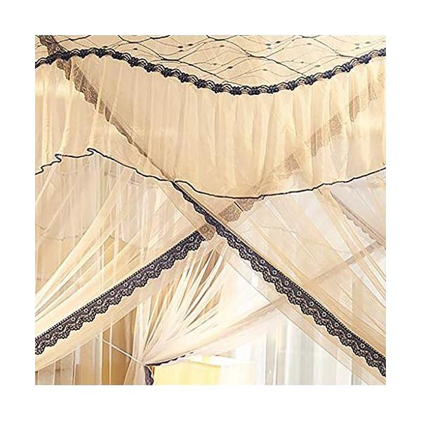 Princess 3 Side Aperture Messaggio letto a baldacchino cortina di zanzariere Net Biancheria da letto, 4 angolo Messaggio… 6 spesavip