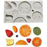 Emoin Fruit Silicone Fondant Mold Strawberry Lemon Kiwi Fruit Tangerine Slice Blueberry Raspberry Silicone Chocolate Candy Mo